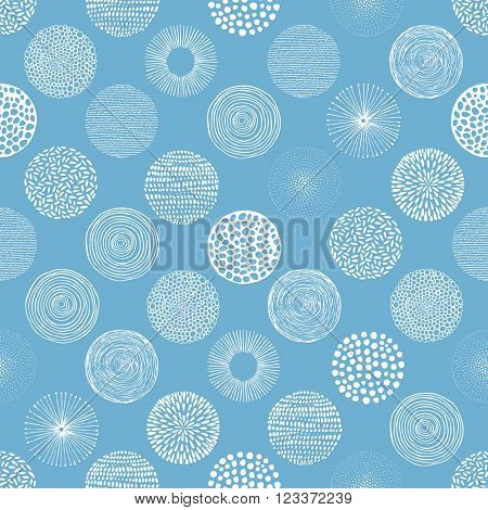 Seamless vector pattern with hand-drawn circles texture, abstraction illustration of white silhouette on blue background.