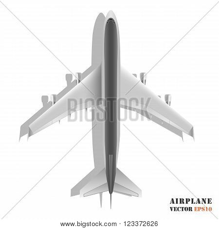 Realistic large passenger airplane isolated on white background. Design element plane. Vector illustration icon EPS10