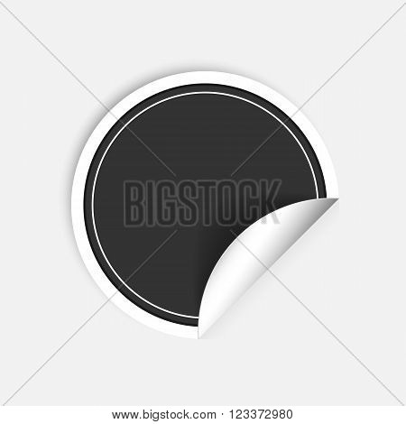 Vector black round stickers with curled edge isolated on white background