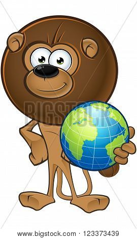 Lion With Round Mane - Holding A Globe