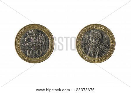 both sides of the coin of 100 chilean pesos isolated on white background