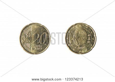20 cent euro coin rather worn on white background