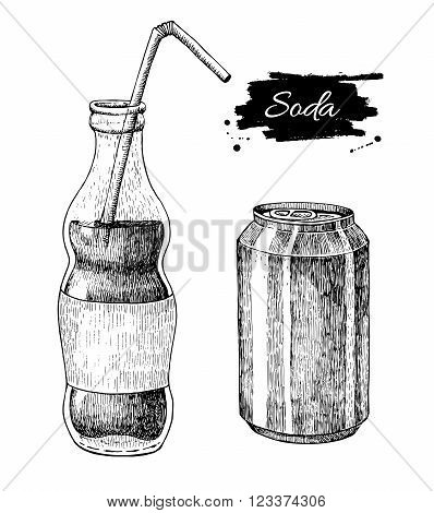 Vector soda drawing. Hand drawn soda illustrations. Vintage drink sketch. Great for restaurant or cafe drink menu.