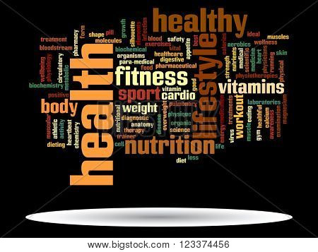 3D illustration oncept or conceptual abstract health diet or sport word cloud or wordcloud on white background