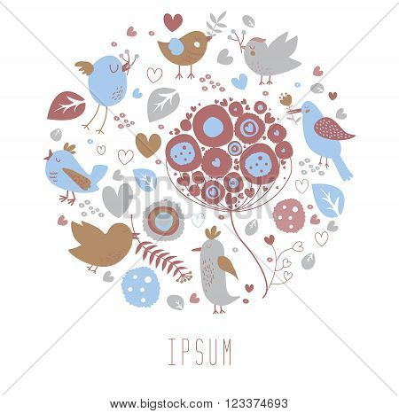 Postcard with hand drawn birds and flowers in the round shape