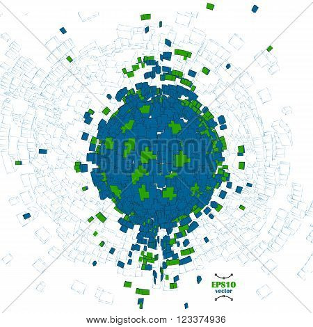 Abstract blue and green 3d sphere vector illustration. . Globe explosion. Earth day.  Big data concept.  Creation of the world. Pixel. blocks, bricks planet structure. green planet idea.