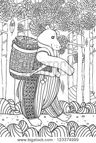 Bear with basket of bast goes on a forest path