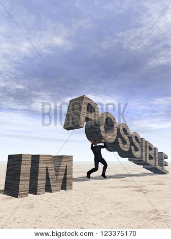3D illustration conceptual 3D business man lifting an abstract stone impossible text on sky background for success, career, work, job, achievement, development, growth, progress, vision, possible