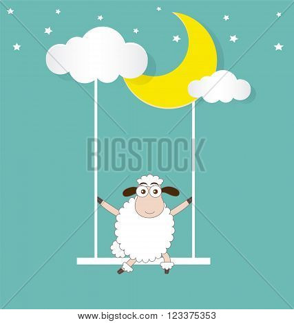Sheep Swinging On a Moon and Cloud