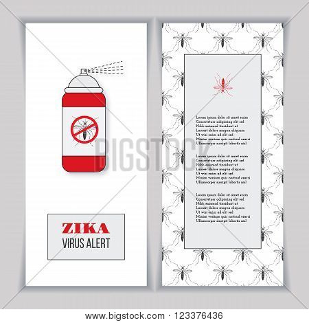 Set of vertical banners posters or flyers over mosquito pattern. Insect repellent canister with forbidden no mosquito sign. Black and red design elements on a white background. Healthcare concept.