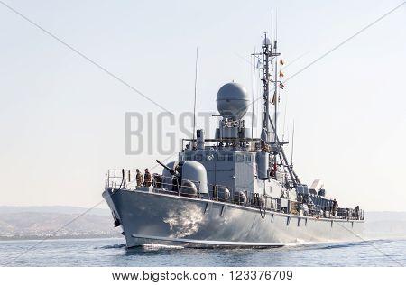 MEDITERRAN SEA / LEBANON - NOVEMBER 2015: German navy speedboat drives to harbor, Mediterranean sea / Lebanon at November 2015.