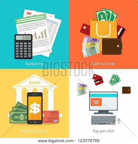 Set personal finance illustration in flat syle