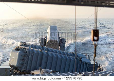 rolling airframe missile system on German navy speedboat
