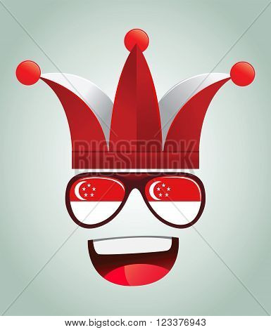 Singapore national supporters with party hats and glasses vector illustration