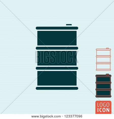 Barrel icon. Barrel symbol. Oil drum icon isolated. Vector illustration