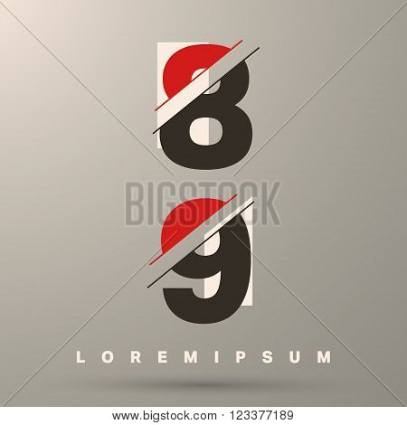 Number font template. Set of numbers 8 9 logo or icon. Vector illustration.