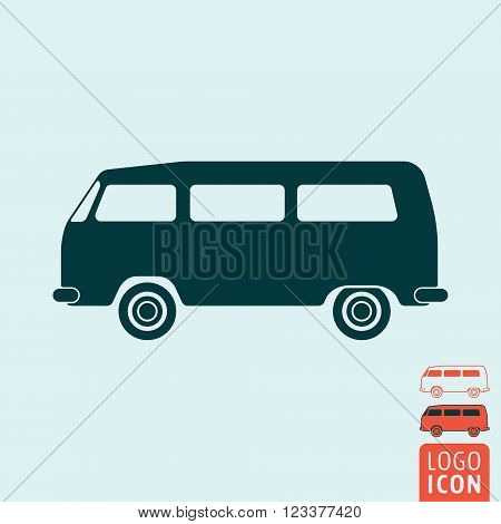 Camper bus icon. Camper bus symbol. Classic vintage minivan icon isolated. Vector illustration