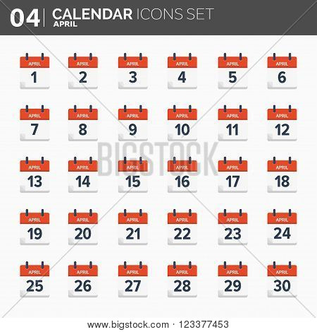Vector illustration. Calendar icons set.  Date and time.  April.