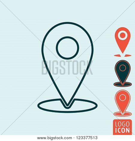 Marker location icon. Marker location symbol. Map pin icon isolated. Vector illustration
