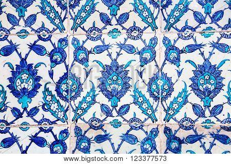 ISTANBUL, TURKEY - MARCH 05, 2016: Turkish Blue Tile in Rustem Pasa Mosque, Istanbul, Turkey