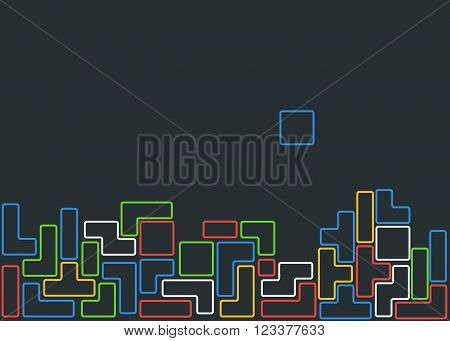 Old video game square template. Colored line brick game pieces. Vector illustration.