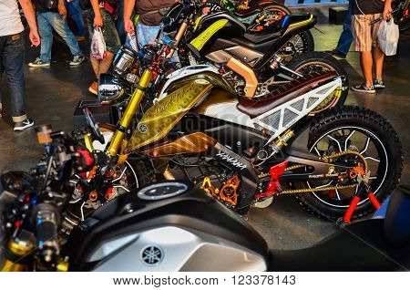 NONTHABURI - MARCH 26: Yamaha motorcycle on display at The 37th Bangkok International Thailand Motor Show 2016 on March 26, 2016 Nonthaburi, Thailand.