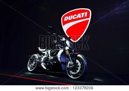 NONTHABURI - MARCH 26: Ducati motorcycle on display at The 37th Bangkok International Thailand Motor Show 2016 on March 26 2016 Nonthaburi Thailand.