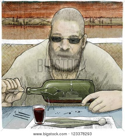 An illustration of a man constructing a floating church in a bottle wit spring onions and a glass of wine on the foreground.