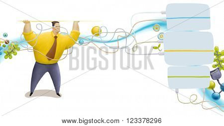 An illustrated blocks and elements on business and technology and a man wearing a tie holding blank space under his head. For web design or graphic template usage.
