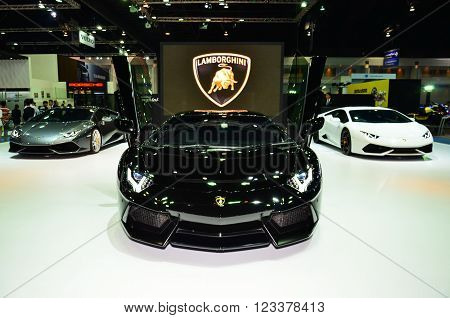 NONTHABURI - MARCH 26: Lamborghini on display at The 37th Bangkok International Thailand Motor Show 2016 on March 26 2016 Nonthaburi Thailand.