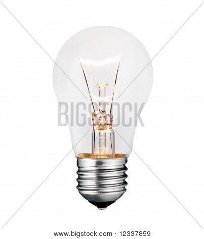Glowing Lightbulb Photo Isolated On White Background