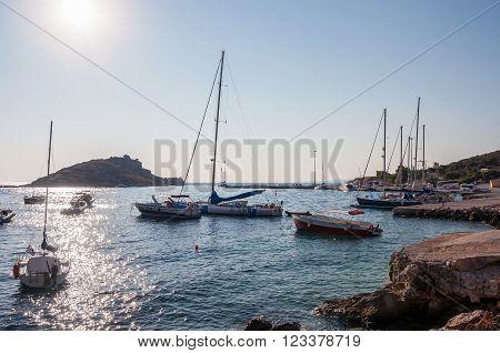 Agios Nikolaos port on Zakynthos at sunrise Greece