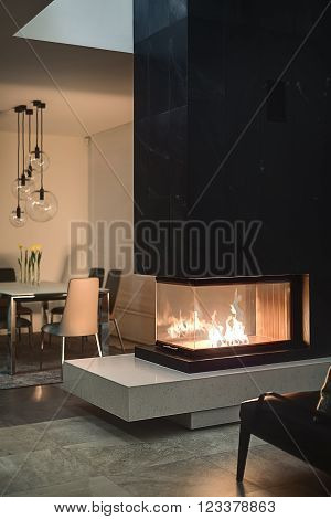 Glass fireplace with burning fire inside and a black chimney. On the background there is a table with flowers in vases, chairs and glass round lamps over them. Walls are light. On the floor there are tiles and a carpet.