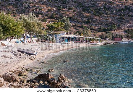 Beach bar at Agios Nikolaos port o Zakynthos Greece
