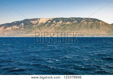 View of Cephalonia Island from the sea Greece