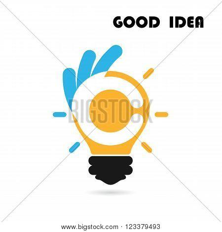 Creative light bulb logo design vector template with OK hand sign.Best ideagood idea sign.Educationbusiness logotype concept.Vector illustration