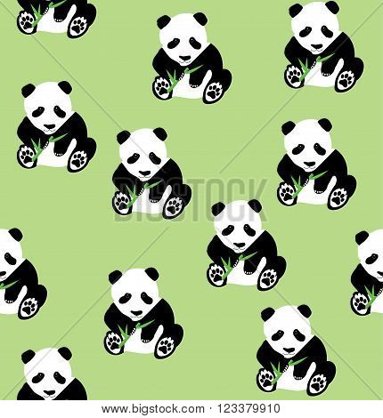 vector illustration of seamless panda bear bamboo background