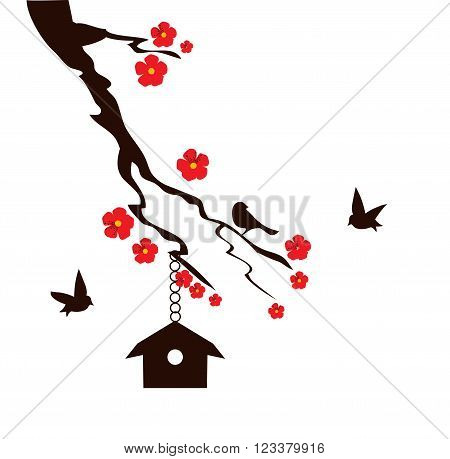 vector illustration of a tree branch with bird house birds and flowers