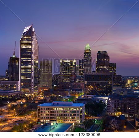 The Charlotte, North Carolina skyline during a colorful morning right before sunrise.