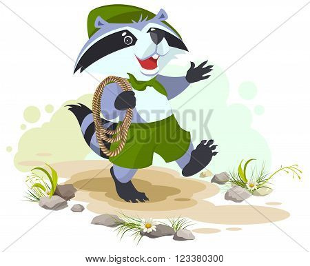 Raccoon scout carries rope. Animal scout with rope. Cartoon illustration in vector format