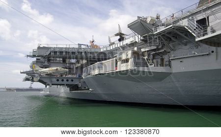 SAN DIEGO California USA - March 13 2016: aircraft carrier USS Midway (CV-41) museum in San Diego harbour USA