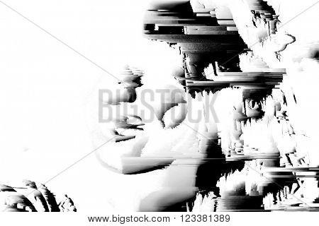 digital glitch background face
