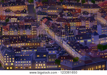 Old traditional Europe city background at night