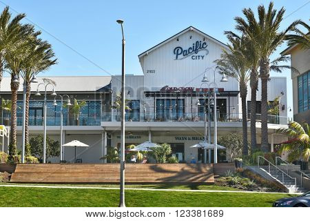 HUNTINGTON BEACH, CA - MARCH 25, 2015: Pacific City. Located on the Pacific Coast Highway, the upscale development features shops and restaurants.