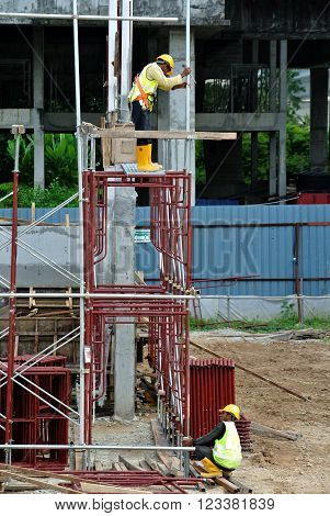architecture, bracing, build, civil, construction, contractor, danger, design, engineering, form, foundation, frame, heavy, high, hook, industrial, industry, install, iron, level, load, logistic, malaysia, material, metal, modular, outdoor, pipe, platform