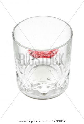 Whisky Glass With Lipstick