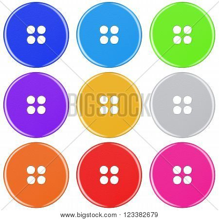 Plastic Button Isolated - Colorful