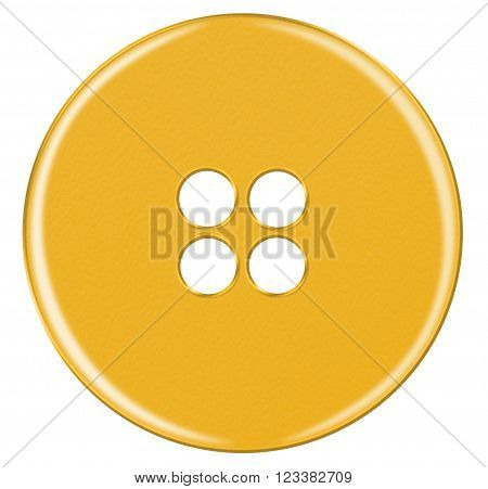 Plastic Button Isolated - Yellow