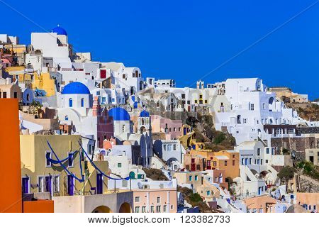 colorful beautiful Greece - amazing Santorini.view of Oia villag