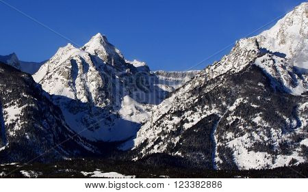 Teton Mountain Peaks of the Grand Tetons in Grand Tetons National Park in Wyoming USA